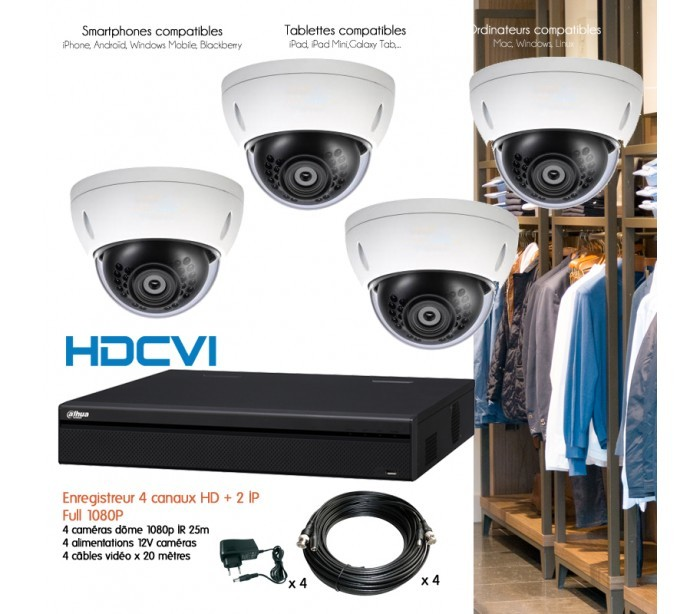 kit de vid osurveillance avec 4 d mes varifocale 1080p. Black Bedroom Furniture Sets. Home Design Ideas