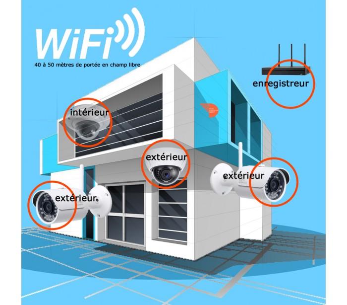 kit de vid o surveillance wifi 4 cameras ip de surveillance ext rieures. Black Bedroom Furniture Sets. Home Design Ideas