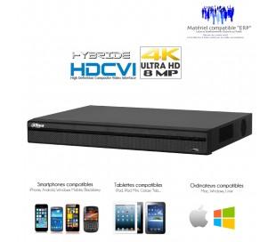 Enregistreur HDCVI 4 canaux 4K/8MP + canaux IP 4K/8MP