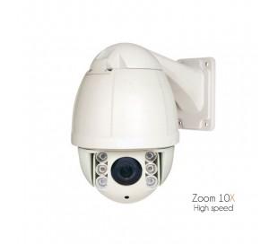 Dôme motorisé avec zoom 10x de 5 à 50mm, infraouge 50 mètres, surveillance extérieure
