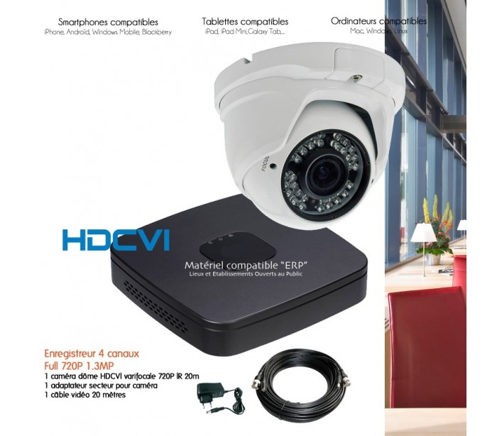 syst me vid o surveillance hdcvi avec 1 cam ra varifocale hdcvi 720p. Black Bedroom Furniture Sets. Home Design Ideas