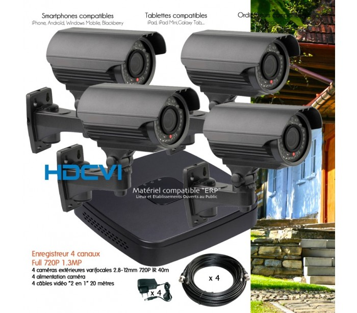 kit video surveillance hdcvi et 4 cam ras ext rieures varifocales. Black Bedroom Furniture Sets. Home Design Ideas