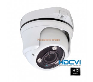 Dôme HDCVi 1080P avec micro intégré, objectif 2.8-12mm, IR 40m