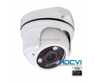 Dôme HDCVi 720P avec micro intégré, objectif 2.8-12mm, IR 40m