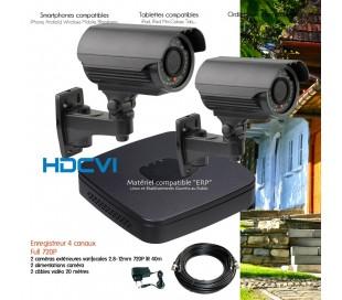 Kit de video surveillance HDCVI avec 2 caméras extérieures varifocales