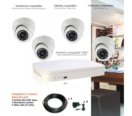 syst me de video surveillance dvr full 960h avec 4 d me 420 lignes. Black Bedroom Furniture Sets. Home Design Ideas