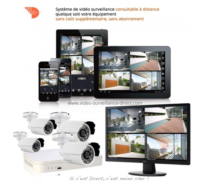 kit de video surveillance dvr 960h avec 8 cam ras. Black Bedroom Furniture Sets. Home Design Ideas