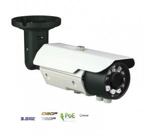 Caméra de surveillance IP 3MP extérieure, PoE, varifocale, IR 25 m