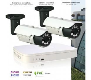 Système de video surveillance IP avec 2 caméras IP 3MP extérieures