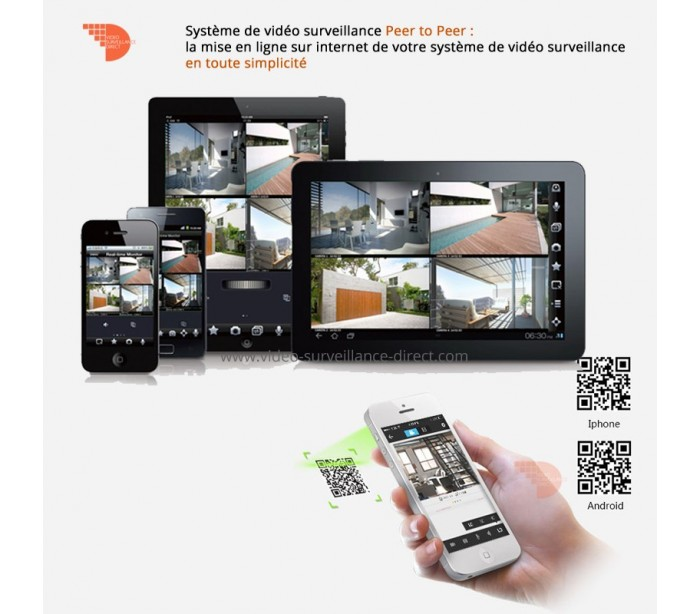 syst me de vid o surveillance ip avec 2 cam ras r glables. Black Bedroom Furniture Sets. Home Design Ideas