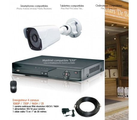 syst me video surveillance avec une cam ra ext rieure hd 1080p et un dvr hybride. Black Bedroom Furniture Sets. Home Design Ideas