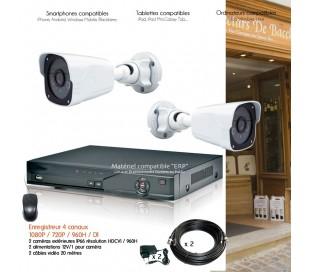 Système de vidéo surveillance HD avec 2 caméras extérieures IR 30m