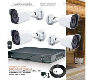 Kit de vidéo surveillance HD avec 4 caméras extérieures 1080P