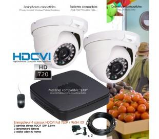 Kit de vidéo surveillance HD 720P avec 2 dômes infrarouges 25m