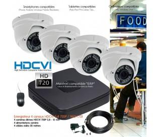 Système de vidéo surveillance HD 720P avec 4 dômes varifocales