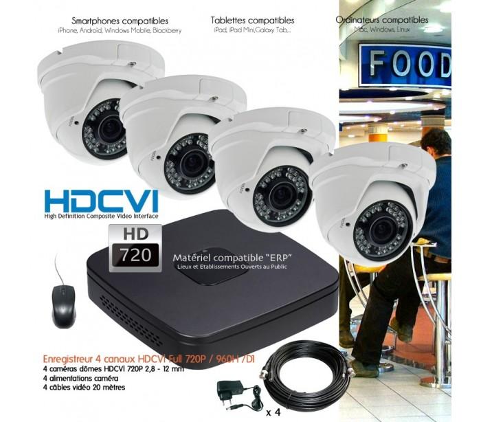 kit conomique de video surveillance 4 cam ras d mes hdcvi varifocales. Black Bedroom Furniture Sets. Home Design Ideas