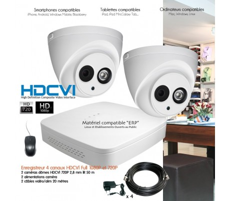 kit de video surveillance hdcvi avec cam ras d me 1 megapixel. Black Bedroom Furniture Sets. Home Design Ideas
