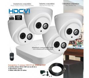Système de vidéo surveillance HDCVI avec 4 caméras dômes