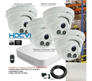 Kit HDCVI de vidéo surveillance avec 4 dômes à focale réglable 2,8 à 12mm