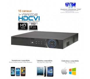 Enregistreur 16 canaux professionnel, Full 720P HDCVI, supporte 2 disques durs pour sauvegarde miroir