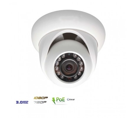 Dôme IP 3MP infrarouge 30m 3,6mm