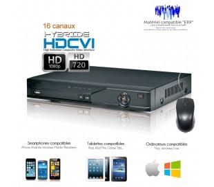 Enregistreur tri-hybride HDCVI 16 canaux Full 720P à 25 ips