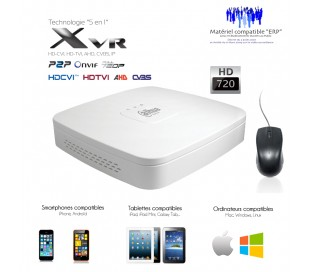XVR 4 canaux full 720P + 2 caméras IP 5MP