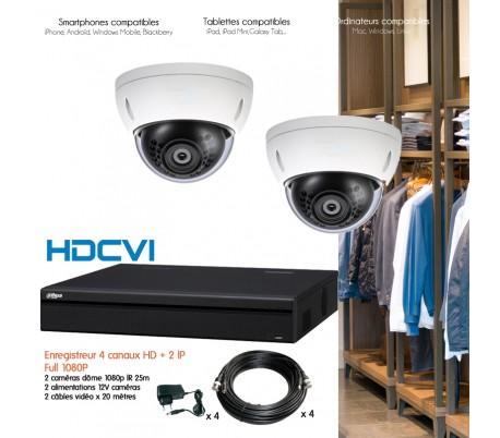 Kit HD de vidéo surveillance avec 2 dômes 1080P