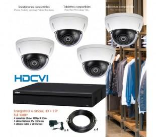 Kit HD de vidéo surveillance avec 4 dômes 1080P