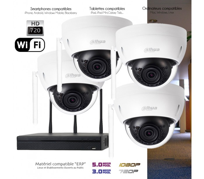 kit wifi de vid o surveillance 4 cameras d mes de surveillance. Black Bedroom Furniture Sets. Home Design Ideas