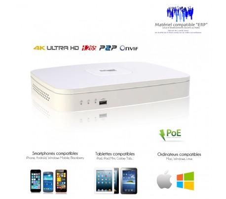 NVR 4 canaux 4K/8MP  avec 4 ports POE, taille mini