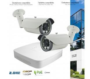 Système de video surveillance IP avec 2 caméras IP 2MP zoom motorisé