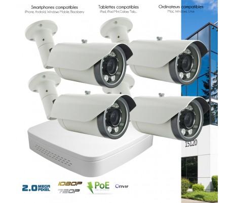 Système de video surveillance IP avec 4 caméras IP 2MP motorisées