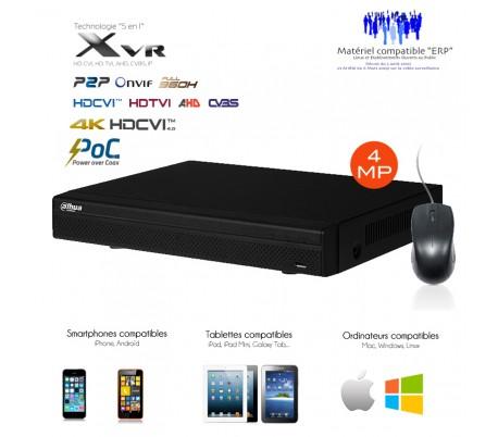 DVR hybride avec PoC 8 canaux 4K/8MP + 4 canaux IP 4K/8MP