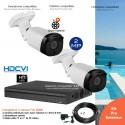 Kit vidéo surveillance avec 2 caméras HDCVI zoom motorisé, extérieures IR 50m