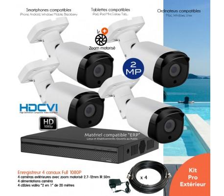 Kit vidéo surveillance 1080P avec 4 caméras extérieures IR 60m