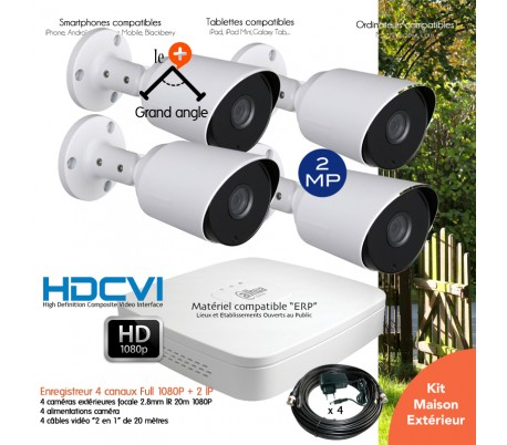 Système de vidéo surveillance 4 caméras HD 1080P extérieures