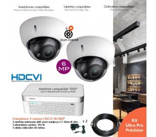 Kit  vidéo surveillance 6MP avec 2 caméras dômes infrarouges 30m