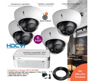 Kit vidéo surveillance 6MP avec 4 caméras dômes infrarouges 30m