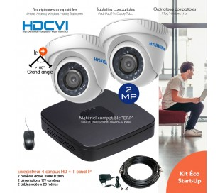 Kit de vidéo surveillance HD avec 2 dômes infrarouges 20m