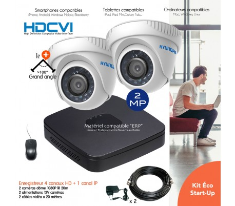 Kit de vidéo surveillance HD 720P avec 2 dômes infrarouges 40m