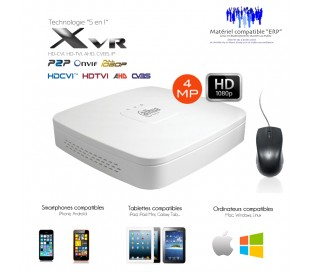 XVR 4 canaux full 1080P + 2 canaux IP 5MP