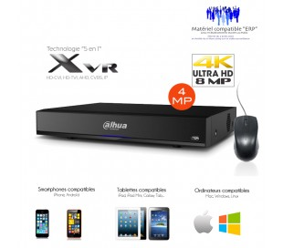 Enregistreur XVR 4 canaux Full 4MP et 1080P + 2 canaux IP,