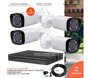 Kit  vidéo surveillance 4 caméras extérieures 4MP vision nocturne 60m
