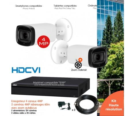 Kit  vidéo surveillance 2 caméras extérieures 4MP vision nocturne 30m