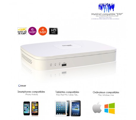 NVR 4 canaux 4K/8MP taille mini