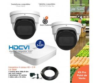 Système avec 2 caméras de surveillance 2MP zoom motorisé