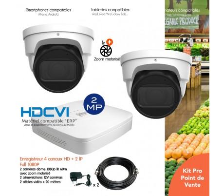Système de vidéosurveillance avec 2 caméras 1080P HDCVI zoom motorisé