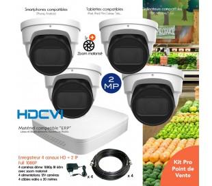 Système avec 4 caméras de surveillance 2MP zoom motorisé