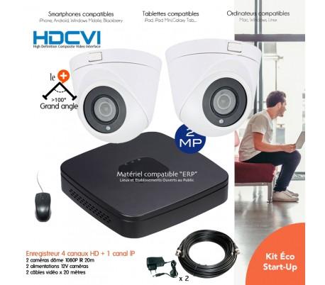 Kit 2 caméras de vidéo surveillance 2MP infrarouges